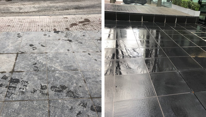 Chemically cleaned and steam pressure washing at Canary Wharf