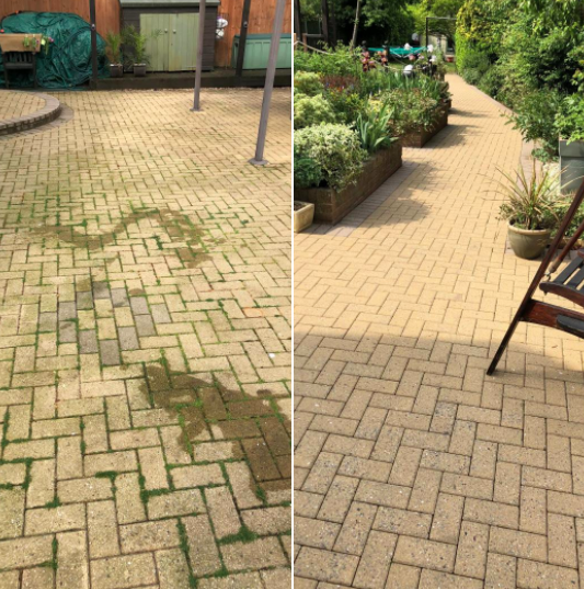 Token Cleaning - before and After Patio Clean
